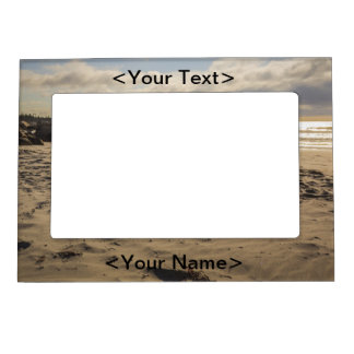 Fallen Sand Castle On The Beach Magnetic Picture Frame