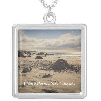 Fallen Sand Castle On The Beach Square Pendant Necklace