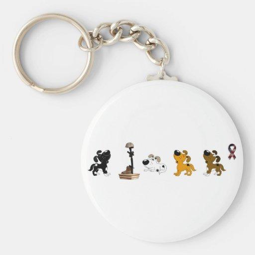 Fallen Soldier (Cutie and pups mourn) Keychain