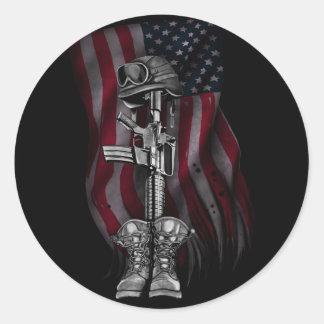 Fallen Soldier Round Sticker