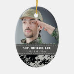 Fallen Soldier with black and white digital camo Christmas Ornaments