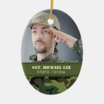 Fallen Soldier with Jungle Camo Christmas Ornaments