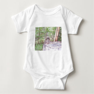 Fallen Tree with Stump in Forest Baby Bodysuit