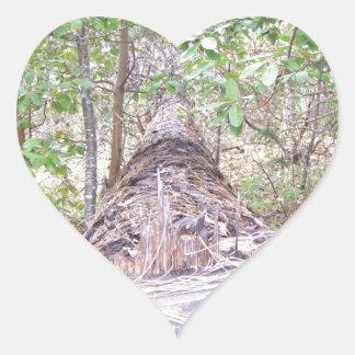 Fallen Tree with Stump in Forest Heart Sticker