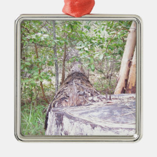 Fallen Tree with Stump in Forest Metal Ornament