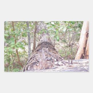 Fallen Tree with Stump in Forest Rectangular Sticker