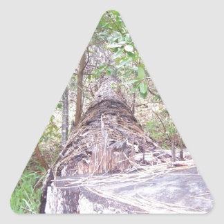 Fallen Tree with Stump in Forest Triangle Sticker
