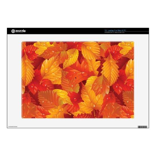 "Fallen wet leaves. Autumnal background 15"" Laptop Skins"