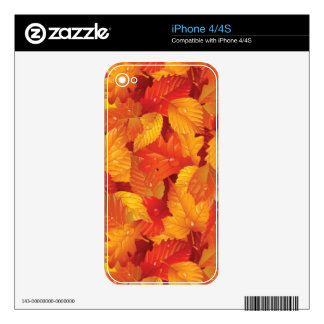 Fallen wet leaves. Autumnal background Skins For iPhone 4S