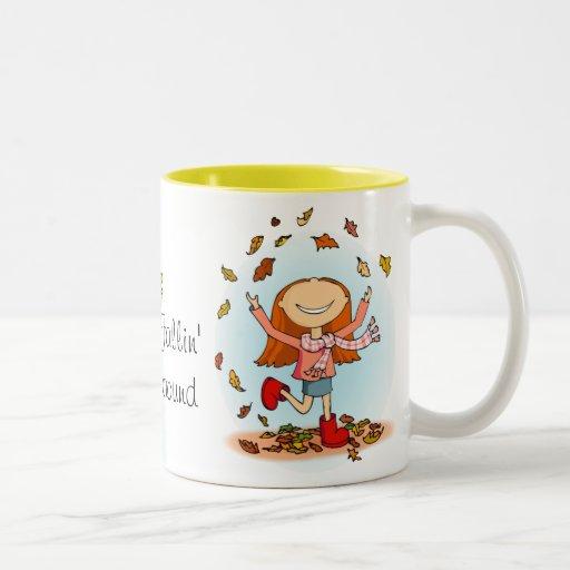 """Fallin' around!"" Autumn / fall mug"