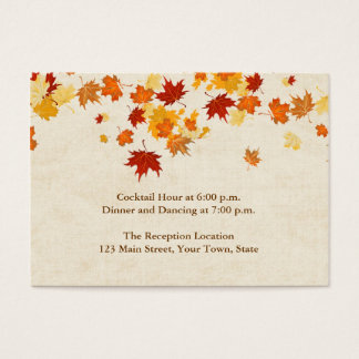 Falling Autumn Leaves Reception Business Card