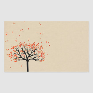 Falling Autumn Leaves Rectangle Stickers