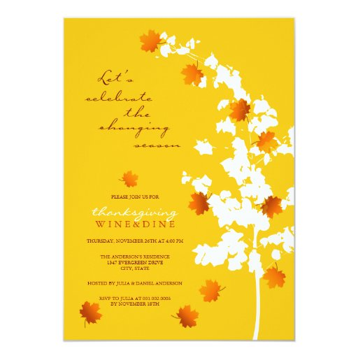 """Falling Autumn Leaves Thanksgiving Dinner Party 5"""" X 7"""" Invitation Card"""