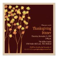 Falling Autumn Leaves Thanksgiving Invitation
