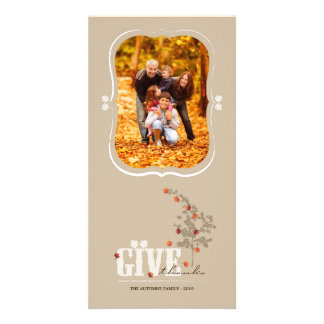 Falling Autumn Leaves Thanksgiving Photo Card
