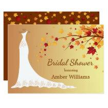 Falling autumn leaves, wedding gown Bridal Shower Invitation