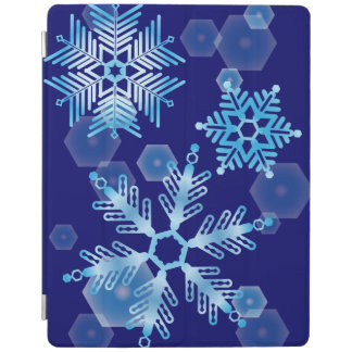 Falling Blue Snowflakes iPad Cover