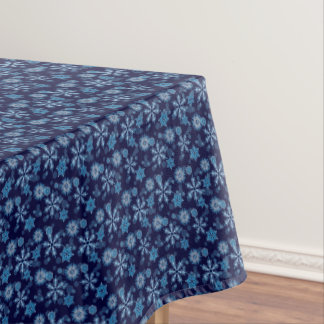 Falling Blue Snowflakes Pattern Tablecloth