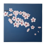 Falling Cherry Blossoms Ceramic Tile