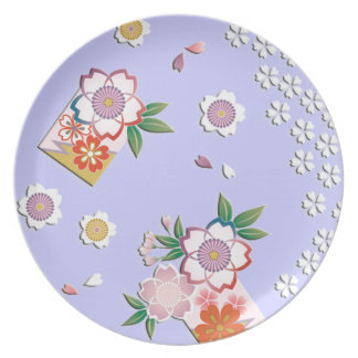 Falling cherry blossoms plates