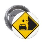 Falling Chicken Zone Highway Sign 2 Inch Round Button