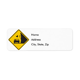 Falling Chicken Zone Highway Sign Label