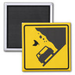 Falling Chicken Zone Highway Sign 2 Inch Square Magnet