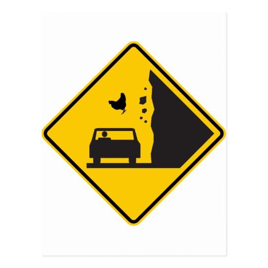 Falling Chicken Zone Highway Sign Postcard