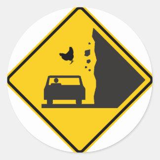 Falling Chicken Zone Highway Sign Round Stickers
