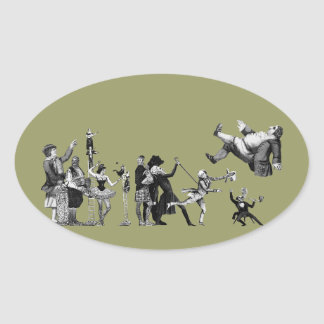 Falling Circus Oval Sticker