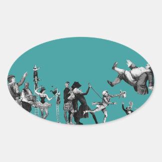 Falling Circus Oval Sticker