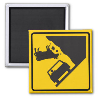 Falling Cow Zone Highway Sign 2 Inch Square Magnet
