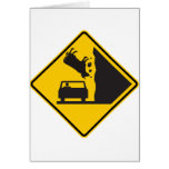 Falling Cow Zone Highway Sign Card