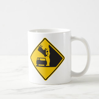 Falling Cow Zone Highway Sign Mugs