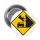 Falling Cow Zone Highway Sign Pinback Button