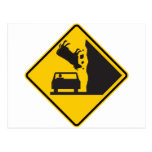 Falling Cow Zone Highway Sign Post Card