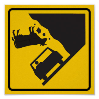Falling Cow Zone Highway Sign Posters