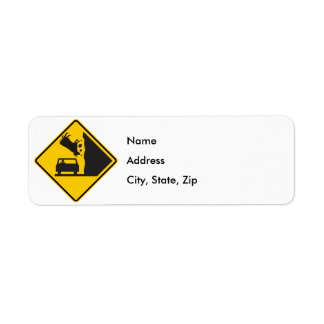 Falling Cow Zone Highway Sign Return Address Label