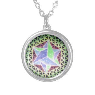 Falling Dark Star Design Round Pendant Necklace