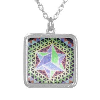 Falling Dark Star Design Square Pendant Necklace