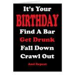 Falling Down Drunk Birthday Card