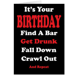 Falling Down Drunk Birthday Card