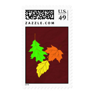 Falling fall leaves postage