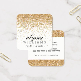 FALLING FAUX GOLD CONFETTI cute cascading luxe Square Business Card