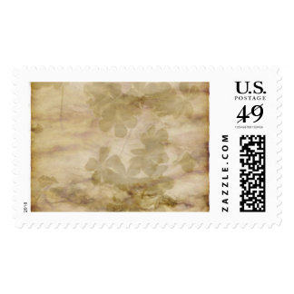 Falling Flower Pattern on Antiqued Background Postage Stamps