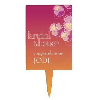 Falling Flowers Juicy Ombre Bridal Shower Cake Toppers