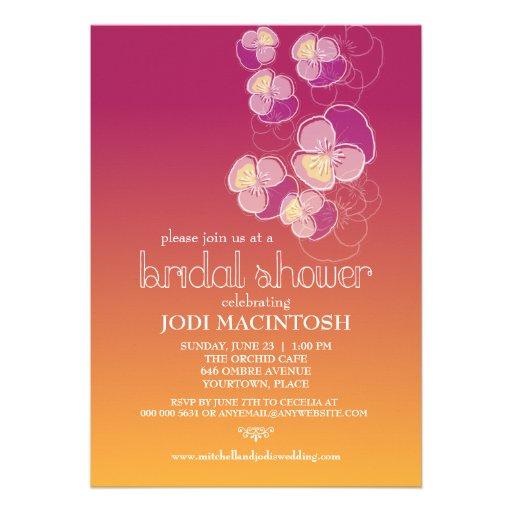 Falling Flowers Juicy Ombre Bridal Shower Custom Invite