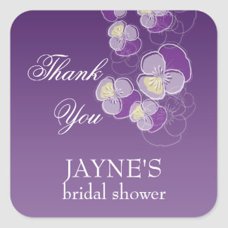 Falling Flowers Purple Ombre Bridal Shower Square Sticker