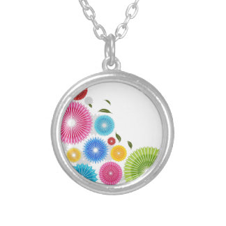 Falling Flowers Round Pendant Necklace