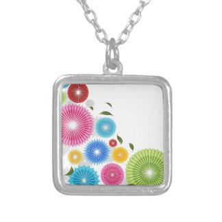 Falling Flowers Square Pendant Necklace